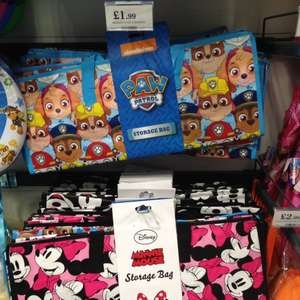 Disney and Paw Patrol large storage bags £1.99 in store at Home Bargains