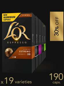 190 L'or espresso capsules £41.64 (compatible with Nespresso machines)  plus free P&P & 2 glass cups (over £40 spend)