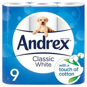 Costco Andrex Classic white toilet tissue 5x9 = 45 rolls for £12.58 inc VAT
