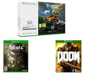 Xbox One S with Rocket League + DOOM + Fallout 4 + 3 months Xbox Live Gold £199.98 @ Currys