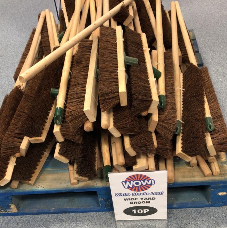 """B&M Bargains 18"""" stiff bristle broom - 10p instore"""