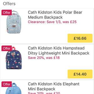 Cath Kidson children's backpacks £16.66 @ ocado