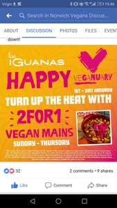 Veganuary at Las Iguanas- 2 for 1 Vegan meals