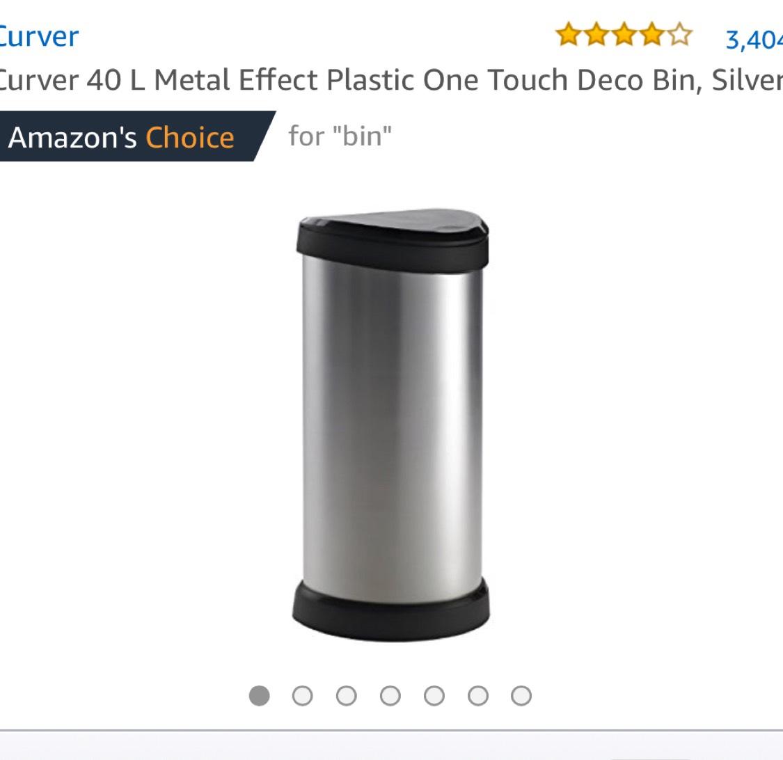 Curver Metallic Effect Plastic Bin 40 L £19.99 Prime / £24.74 Non Prime @ Amazon