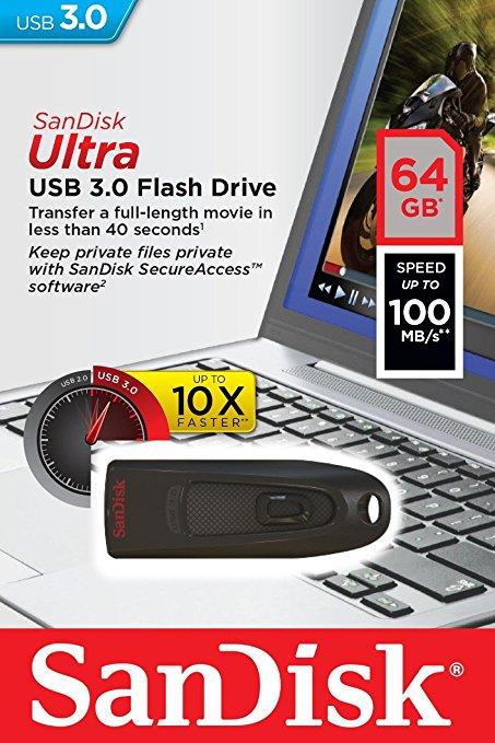 Sandisk Ultra 64 GB USB 3.0 Drive - Sainsbury's £16.66