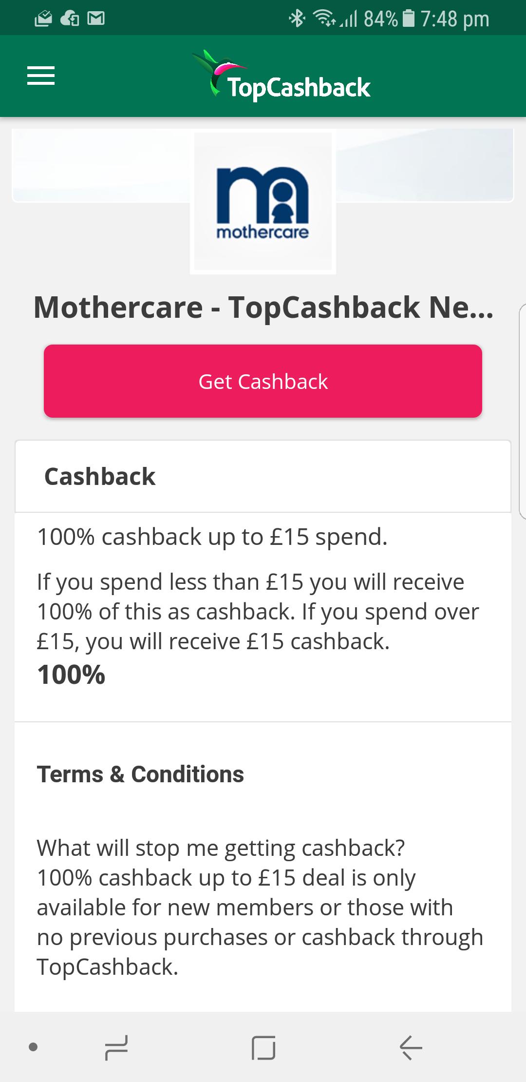 Get 100% cashback up to £15 spend - Mothercare via TopCashback