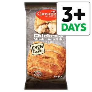 Ginsters Chicken And Mushroom Or Peppered Steak  Slice 170G - 80p @ Tesco