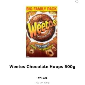 Weetos Chocolate Hoops 500g Big family pack £1.49 @ Icelend
