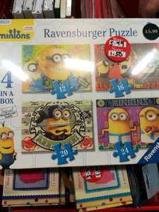 Minions Ravensburger puzzle 4 in a box, reduced to £1.50 at Waterstones Stockport