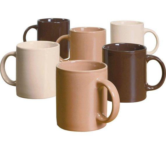 HOME Set of 6 Porcelain Mugs Set - Natural - Argos - £2.99