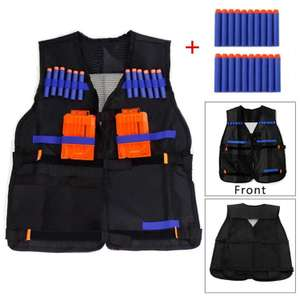 Yalulu Kids Childrens Elite Tactical Vest with 20pcs Blue Soft Foam Darts for Nerf Gun N-strike Elite Series Not Including 2 Clips £7.99 @ Amazon (Dispatched from and sold by Wayne's store)