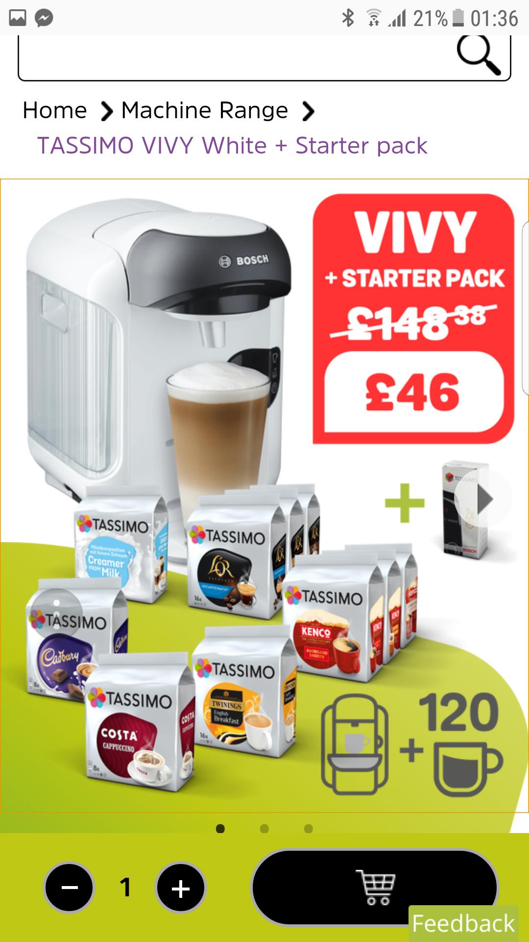 TASSIMO VIVY White + Starter pack (120 pods) £46 Del @ Tassimo UK (also in Black)