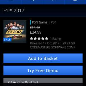 F1 2017 PS4 download PlayStation Store £24.99