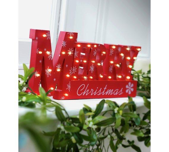Window Light Merry Xmas Sign - Red - For Xmas 2018 £3.49 @ Argos