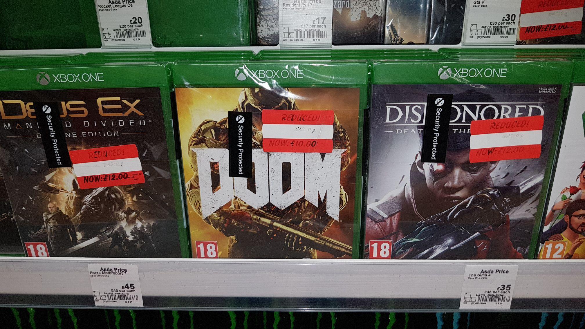 Asda prices xbox one games - Deus Ex - £12 / Doom - £10 / Dishonored - £12 (Warrington store)