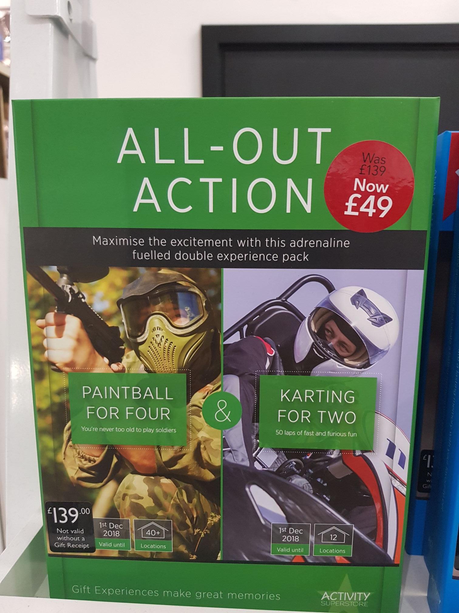 Paintball for 4 & Karting for 2 gift experience £49 instore @ Debenhams