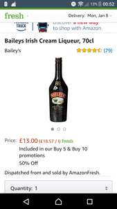 Bailey's 70cl  Amazon fresh / prime £6.99 - possibly £3.25 each with offers see op (For orders over £40)