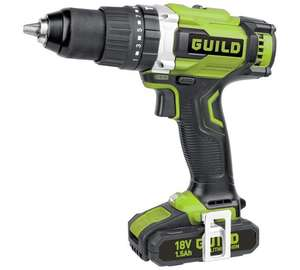 Guild BRUSHLESS hammer drill kit with 2x Li-ion batteries, charger and carry case down to £79.99 at Argos.