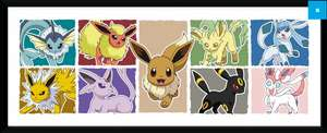 Pokemon Eevee/Kanto Starters and Pikachu Framed Picture (£11.99 - GB Posters) - Reduced from £19.99 - Spend £25 for FREE P&P