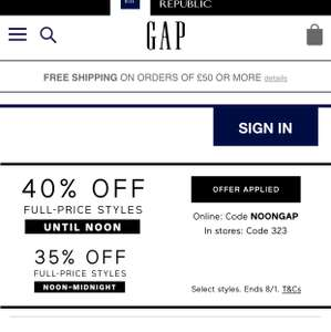 35% OFF GAP on All Full Price - Ends at Midnight!