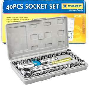 "Premium 40 Pieces 1/4"" & 3/8"" Drive Socket Set Tool Kit Torx Ratchet Driver £4.49 ebay /  ignitionline"