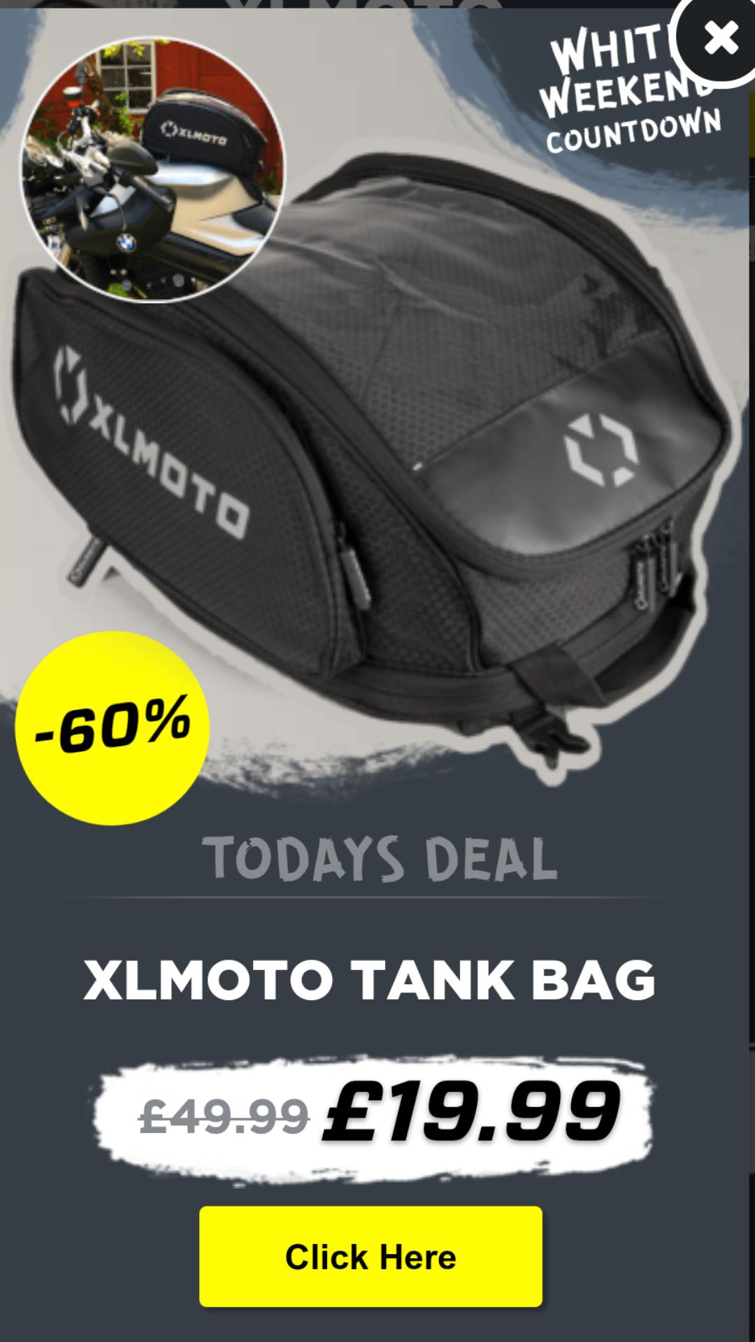 XLMOTO motorcycle tank bag £23.94 usually £49.99 @ XLMOTO