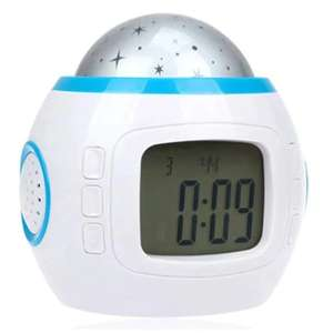 Electronic Multifunctional Music Galaxy Projection Alarm Clock in White £5.21 Del w/code @ Gamiss