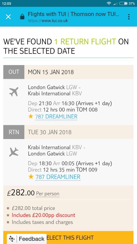 London gatwick to thailand krabi 14days , 787 dreamliner flight £282 pp @ TUI