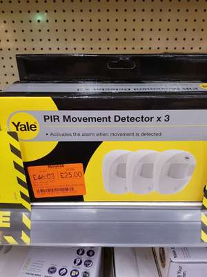 Yale... PIR MOVEMENT DETECTORS X3 PACK was  £46.03 now £25 @ Homebase Lincoln not a lot left..