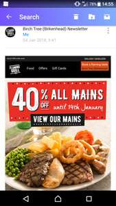 40% off main meal @ flaming grill pubs - Via mailing list