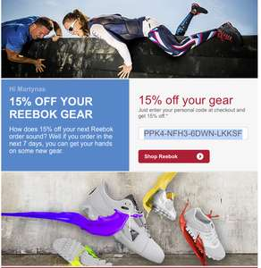 Single Use Reebok Voucher for 15%, Valid for 7 Days