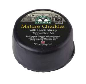 Wensleydale Creamery Mature Cheddar with Black Sheep Riggwelter Ale Truckle 200g £1 instore @ Heron