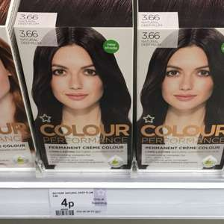 Superdrug permanant hair colour 4p instore