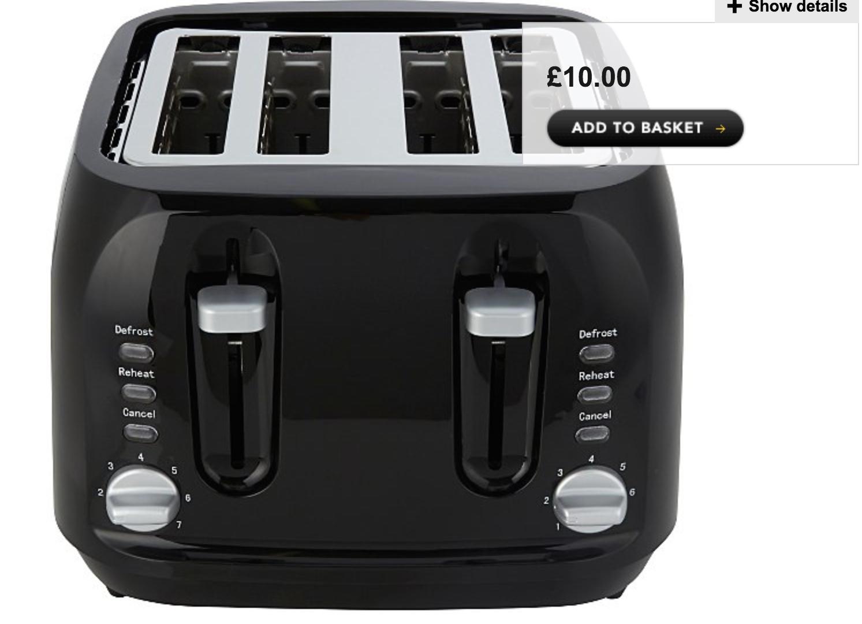 George Home 4 Slice Toaster With Long Slots Black £10 @ Asda George