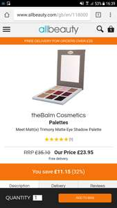 theBalm cosmetics meet Matt(e) Trimony £23.95 delivered @ All beauty