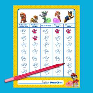 Paw Patrol potty chart. free download via Nickelodeon
