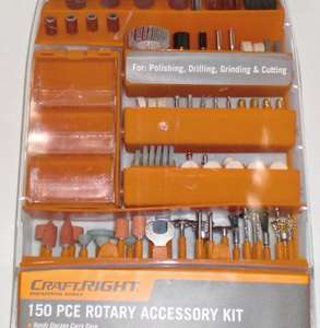 Craftright Rotary Tool Accessory Kit with Carry Case - 150 Piece £5 @ Homebase