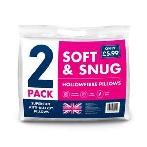 IN STORE ONLY - SOFT AND SNUG HOLLOW FIBER PILLOW PAIR £2.99 @ Poundstretcher