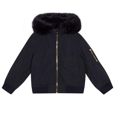bluezoo - Girls' navy faux fur trim bomber jacket - £17 @ Debenhams (C&C)