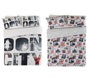 HOME London Twin Pack Bedding Set - Double - Argos - £8.99