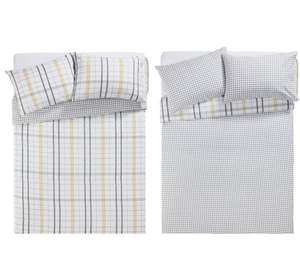 HOME Grey Check Twin Pack Bedding Set - Double - Argos - £6.49 (C&C)