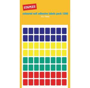 Staples Self Adhesive Labels, Coloured (package 1280 each) £1.02 (C&C)