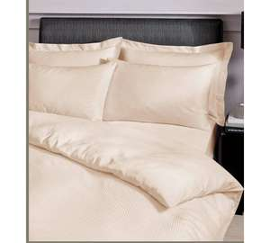 Catherine Lansfield Cream Satin Stripe Bedding Set- Kingsize - Argos - £17.99