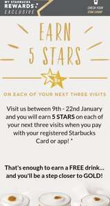 Earn bonus stars on Starbucks on next 3 visits