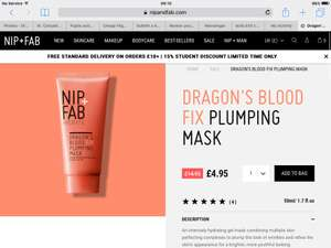 Nip + Fab Dragons blood fix plumping mask £3.96 w/code + £2.95 delivery @ Nip + Fab (Free Del wys £10)