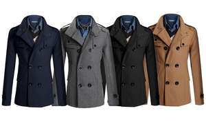 Men's Slim Fit Smart Military-Style Coat in Choice of Colour £28.98 Delivered @ Groupon