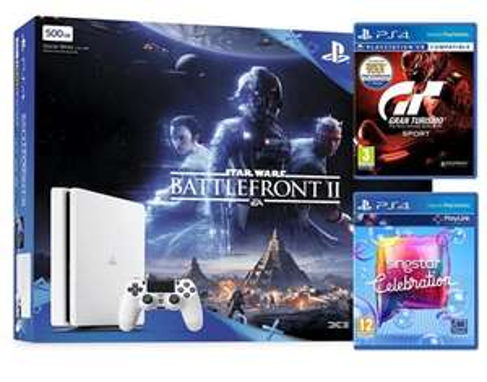 PS4 Slim White. Star Wars Battlefront II, GT Sport, Singstar Celebration £229.99 -  Box.co.uk
