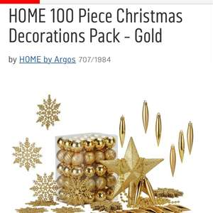 100 piece Christmas decorations now reduced to £2.29 at Argos