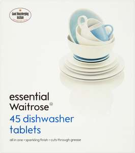 essential Waitrose Dishwasher Tablets (45 pack) - £4.00 @ Waitrose with PYO offers
