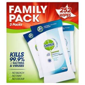 Dettol Anti-Bacterial Cleaning Surface Wipes, 252 Wipes, Amazon S&S with voucher £3.25